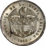 COLOMBIA. 1850 10 Reales. Bogotá mint. Restrepo 197.1. MS-65 (PCGS).