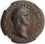 NERO, A.D. 54-68. AE Dupondius (14.49 gms), Rome Mint, A.D. 64. NGC EF, Strike: 5/5 Surface: 4/5.