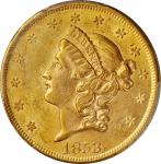1853/2 Liberty Head Double Eagle. FS-301. Late Die State. MS-60 (PCGS).