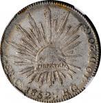 1852-Ca RG (5/4)年墨西哥鹰洋壹圆银币。MEXICO. 8 Reales, 1852-Ca RG (5/4). Chihuahua Mint. NGC MS-61.