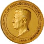 1928年国王西索瓦-蒙维龙加冕金样章。CAMBODIA. Sisowath Monivong Coronation Gold Medal, 1928. PCGS SPECIMEN-65 Gold S