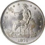 1874-CC Trade Dollar. MS-63 (PCGS).