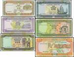 1990至92年澳门大西洋银行拾,贰拾,伍拾,壹佰,伍佰,壹仟圆一套六枚,编号后两数字相同,均PMG65EPQ-66EPQ,澳门纸币