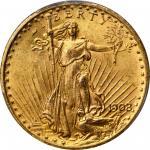 1908 Saint-Gaudens Double Eagle. Motto. MS-65 (PCGS).
