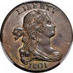 1801 Draped Bust Cent. S-222. Rarity-1. AU-58 BN (PCGS). CAC.