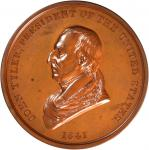 1841 John Tyler Indian Peace Medal. First Size. Second Reverse. Bronzed Copper. 75.6 mm, rims 6.3 to
