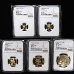 1996年熊猫纪念金币一组5枚 NGC MS