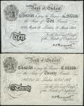 Bank of England, Operation Bernhard, Peppiatt, £10, 1938, prefix L/102, £20, 1937, prefix 55/M, (EPM