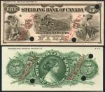 Sterling Bank of Canada, uniface obverse and reverse colour trial $5, 1 January 1914, black on pale