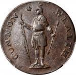 1787 Massachusetts Cent. Ryder 4-C, W-6100. Rarity-4. Arrows in Left Talon, Bowed Head. AU-53 (PCGS)