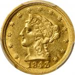 1843-C Liberty Head Quarter Eagle. Large Date. Winter-1, the only known dies. AU-55+ (PCGS).