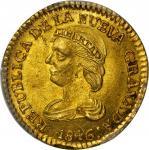 COLOMBIA. 1846-UE 2 Pesos. Popayán mint. Restrepo 202.17. MS-63+ (PCGS).