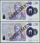 Bank of England, Sarah John, polymer £20, ND (20 February 2020), serial number AA01 000728/788, purp