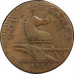1786 New Jersey copper. Maris 15-U. Rarity-5+. Straight Plow Beam. VF-25 (PCGS).