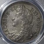 GREAT BRITAIN James II ジェームス2世(1685~88) Crown 1687 PCGS-AU58 トーン EF+