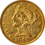1848-C Liberty Head Half Eagle. Winter-1, the only known dies. AU-55 (NGC).