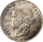 SWITZERLAND. 5 Francs, 1892-B. Bern Mint. PCGS MS-65.