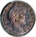 1905 Barber Quarter. Proof-67 (PCGS).