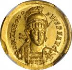THEODOSIUS II, A.D. 402-450. AV Solidus (4.47 gms), Constantinople Mint, 6th Officina, A.D. 408-420.
