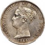 PORTUGAL. 1000 Reis, 1844. Maria II. NGC AU Details--Cleaned.