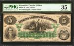COLOMBIA. Estados Unidos de Colombia. 5 Pesos. 1863. P-76. PMG Choice Very Fine 35.