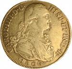 COLOMBIA. 8 Escudos, 1806-NR JJ. Nuevo Reino Mint. Charles IV. VF -- Damaged.