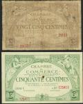 French Oceania, Chambre de Commerce, lot of 2 notes, 25 and 50 centimes, 1919, serial numbers 29133