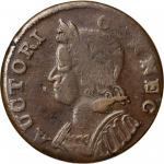 1785 Connecticut Copper. Miller 7.2-D, W-2445. Rarity-6-. Mailed Bust Left. Dr. Hall Ink on Edge. VF