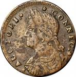 1787 Connecticut Copper. Miller 32.2-X.4, W-3230. Rarity-5+. Draped Bust Left. VF Details--Environme