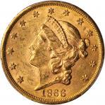 1866-S Liberty Head Double Eagle. Motto. MS-61 (PCGS).