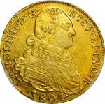COLOMBIA. 1804/3-JJ 4 Escudos. Santa Fe de Nuevo Reino (Bogotá) mint. Carlos IV (1788-1808). Restrep