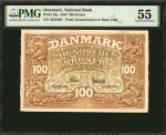 1930年丹麦国家银行100 克朗。 DENMARK. National Bank of Denmark. 100 Kroner, 1930. P-28a. PMG About Uncirculate