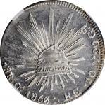 1856-Ca RG (5/4)年墨西哥鹰洋壹圆银币。MEXICO. 8 Reales, 1856-Ca RG (5/4). Chihuahua Mint. NGC MS-63+.