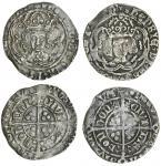 Henry VII (1485-1509), Groats (2), type IIIB/A, 3.13g, m.m. escallop/cinquefoil, henric di gra rex a
