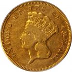 1857-S Three-Dollar Gold Piece. Fine-12 (PCGS).