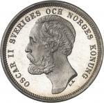 SUÈDE Oscar II (1872-1907). 1 krona, Flan bruni (PROOF) 1889 EB, Stockholm.