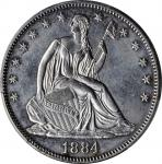 1884 Liberty Seated Half Dollar. WB-102. Repunched Date. AU Details--Cleaned (PCGS).