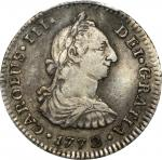 COLOMBIA. 1772-JS Real. Popayán mint. Carlos III (1759-1788). Restrepo 40.4. VF Detail — Plugged (PC