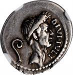 JULIUS CAESAR. AR Denarius (4.08 gms), Rome mint; Q. Voconius Vitulus, moneyer, 40 B.C. NGC Ch VF★,