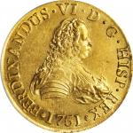 CHILE. 8 Escudos, 1751-So J. Santiago Mint. Ferdinand VI. PCGS MS-61.
