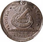 1787 Fugio Copper. Pointed Rays. Newman 11-A, W-6780. Rarity-6. UNITED Above, STATES Below. MS-63 BN