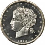 1879 Pattern Standard Dollar. Judd-1605, Pollock-1801. Rarity-7-. Silver. Reeded Edge. Proof-60 (NGC