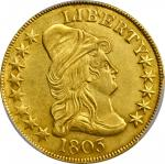 1803 Capped Bust Right Eagle. BD-3, Taraszka-28. Rarity-4. Small Reverse Stars. MS-62 (PCGS). CAC.