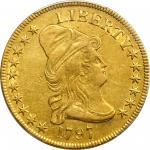 1797 Capped Bust Right Eagle. Heraldic Eagle. BD-2, Taraszka-8. Rarity-4+. AU-50 (PCGS).