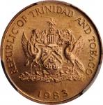 TRINIDAD & TOBAGO. Cent, 1983. Franklin Mint. PCGS SPECIMEN-66 Red Gold Shield.