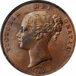 GREAT BRITAIN. Penny, 1854. London Mint. Victoria. ANACS MS-61 Brown.