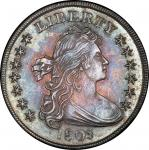 1803 Draped Bust Silver Dollar. Bowers Borckardt-254, Bolender-4. Rarity-3. Small 3. Mint State-64 (