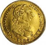 COLOMBIA. 1764-JV 2 Escudos. Santa Fe de Nuevo Reino (Bogotá) mint. Carlos III (1759-1788). Restrepo
