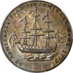 1778-1779 (Circa 1780) Rhode Island Ship Medal. Betts-562, W-1730. Without Wreath Below Ship. Brass.