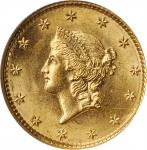 1849 Gold Dollar. Open Wreath, No L. MS-64 (NGC). OH.